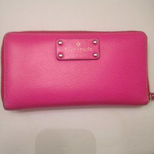 KATE SPADE PINK LEATHER ACCORDION ZIPPER WALLET